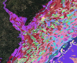 A close-up view of some of the seafloor habitat data that are included in MarineCadastre.gov.