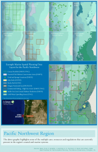 Example of data for marine spatial planning in the U.S. Pacific Northwest. Click on image to enlarge. Quote and image source: Best Practices for Marine Spatial Planning (The Nature Conservancy)