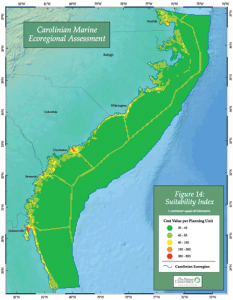 One of the maps from the Carolinian Assessment indicating area suitability. Click on image to enlarge.