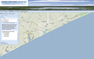 Shoreline exposure to wave energy in East Hampton. Click to enlarge image.