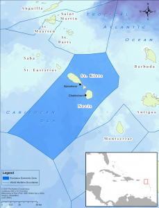 The Federation of St. Kitts and Nevis is a two-island nation located in the West Indies. The combined total coastline for both islands is 135 kilometers, and the Federation's exclusive economic zone (EEZ) covers 20,400 square kilometers.