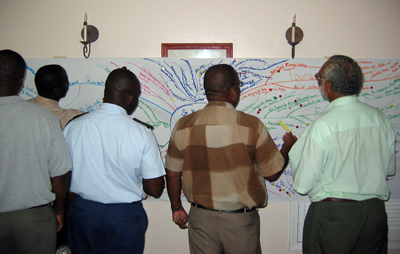 Participants in the project kickoff meeting work on the St. Kitts-Nevis Vision Map. Photo © Steven R. Schill/TNC